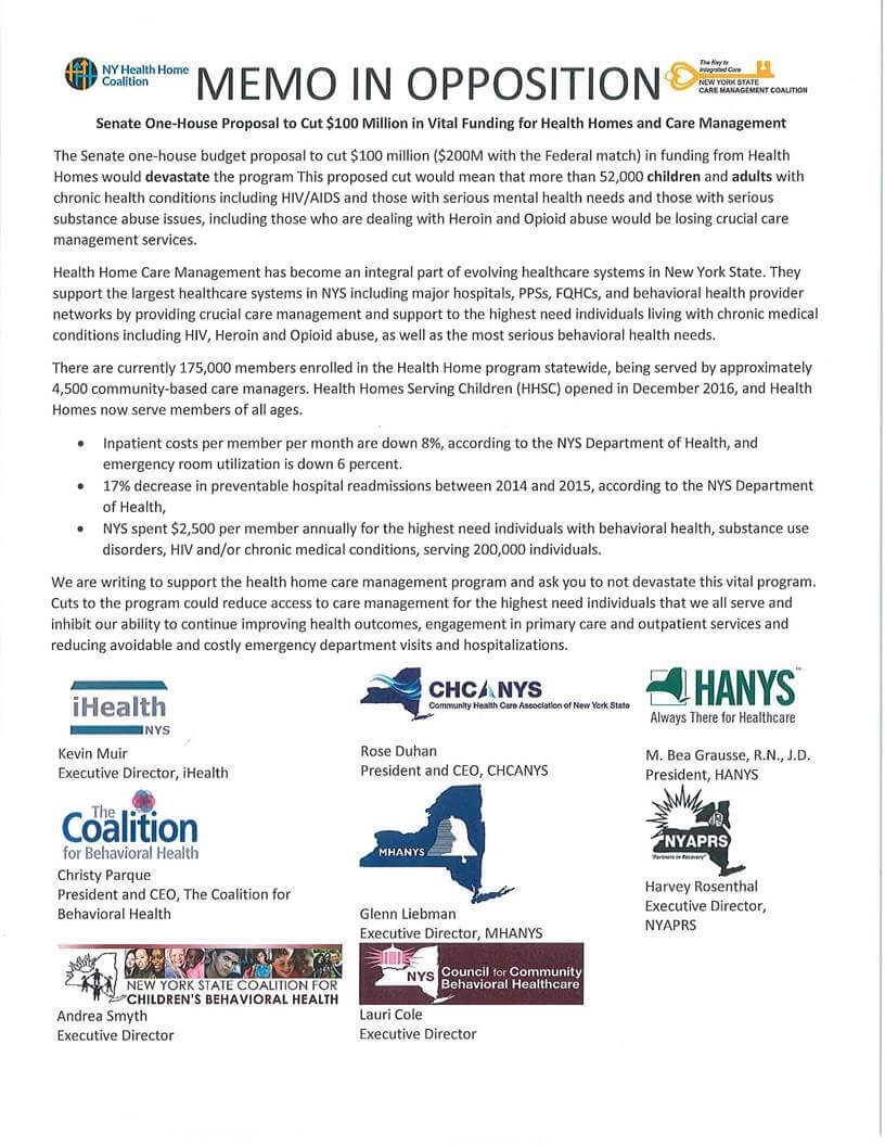 MH Update – 3/22/18 – Memo of Opposition from Members of the Community in regard to Proposed Health Home Cuts.