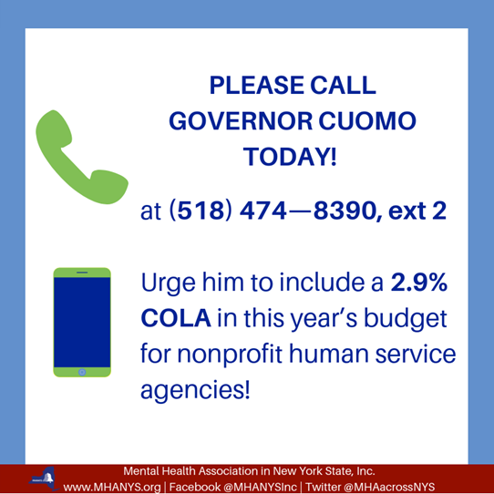 MH Update – 1/14/19 – Call Today for the Human Services COLA To Be in this Year's Budget: Take Two Minutes to Show Support for the Human Services Workforce